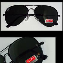 Óculos Rb3025 Medio Aviador Preto Lentes Pretas De Cristal