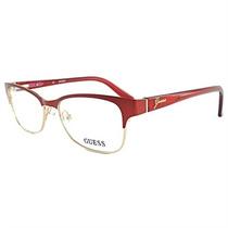 Óculos De Grau Feminino Guess Metal Dourado Acetato Verm.l