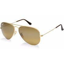 Oculos De Sol Aviador Rb3026 Dourado Com Lentes Marron