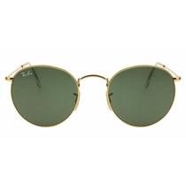 Oculos De Sol Rb3447 Round Metal Dourado Com Lente G15