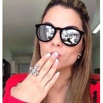 Oculos Erika Veludo Velvet Rb4171 Preto Lente Prata Espelhad