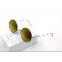 Óculos De Sol Retrô Redondo / Polarizados / Espelhado