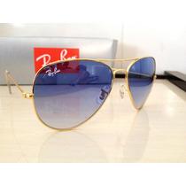 Óculos Aviator 3026 Dourado Lente Azul Degradê F. Gratis!!!