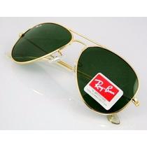 Óculos Rb3026 Aviador Grande Dourado Lente Verde G15