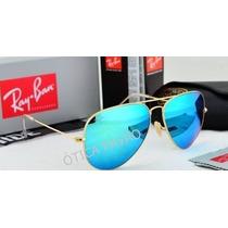 Aviador Azul Espelhado Ray Ban Original 3025 3026 3024