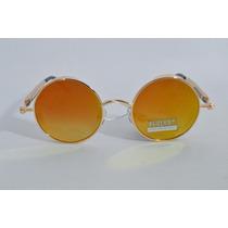 Óculos Espelhado Rock Lentes Espelhadas Redondas Amarela B87