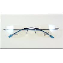 Armação Azul Oculos De Grau Titanium Dobradiça Sem Aro 526