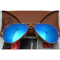 Óculos Rb3026 Grande Dourado Lentes Azul Piscina Espelhado