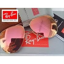 Rb - Aviador Dourado Com Lente Rosé Espelhada - 3026