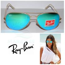 Óculos Aviador Espelhado Azul Ice Rb 3025/3026 Lente Cristal