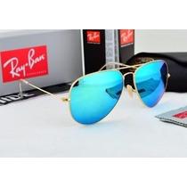 Óculos R Ayb An ,aviadorr Lente Azul Espelhada M Ou G