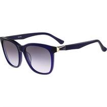 Óculos De Sol Calvin Klein Acetato Azul Translúcido