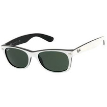 Ray Ban Rb2132 Novo Wayfarer 770 Branco E Preto Lente Verde