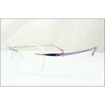 Armação Óculos De Grau Lilas Sem Aro Feita De Titanium A539