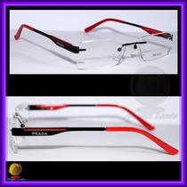 Óculos De Grau, Armação, Haste Preta E Vermelha Vps586