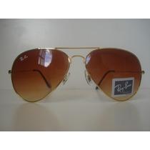 Óculos De Sol Rayban Aviador 3025 Dourado Lente Marrom Degra