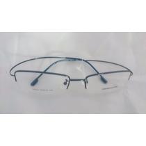 Armação P/ Óculos De Grau Meio Aro Em Titânio Titanium Azul