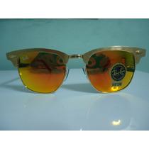 Óculos Clubmaster 3507 Aluminium Dourado Vermelho Espelhado