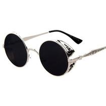Óculos Escuros Retro Steampunk Cor Prata Na Haste E Armação