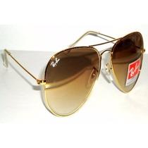 Óculos Rayban Aviador 3025 Feminino Marrom Degrade Promoção
