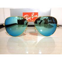 Ray Ban 3026 Aviador Dourado Azul Espelhado Original