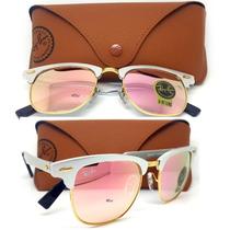 Óculos De Sol Clubmaster Aluminium Lente Rosa