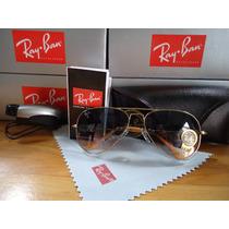 Oculos De Sol 3025 Large Dourado Azul Degrade Original