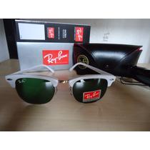 Óculos Clubmaster 3016 Branco Total Lentes Verdes