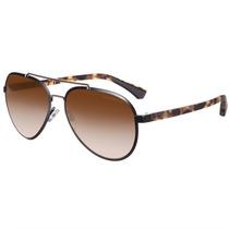 Óculos De Sol Feminino Emporio Armani Aviador Preto Metal
