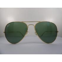 Oculos De Sol Rayban 3025 Aviador Dourado Lente Verde G15