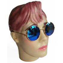 Oculos Estilo Redondo John Lennon Dourado Lente Azul Espelha