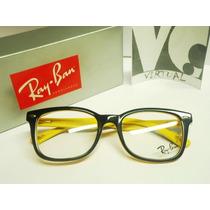 5ab1b368bcab5 armação óculos de grau ray ban wayfarer preto amarelo   ALPHATIER