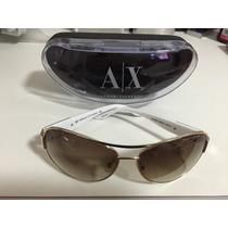 Óculos De Sol Armani Exchange Dourado Estilo Aviador