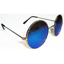 Oculos Estilo Rayban Redondo John Lennon Dourado Lente Azul