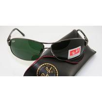 Óculos Aviador 3386 Preto Grafitado Lentes Verdes