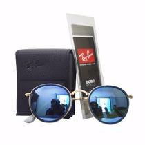 Oculos Sol Ray Ban Round Dobrável Lente Azul Espelhado
