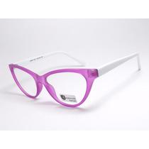 Armação Óculos Feminino Gatinho Roxo Branco Cr22 C1 Mj