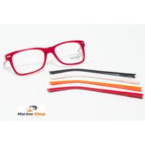 Óculos Troca Hastes Acetato Vermelho Retrô - Armação P/ Grau