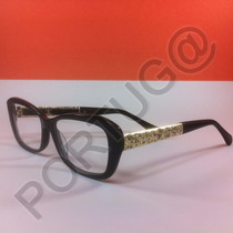 Armação Preta C/ Dourada Gatinha Feminina Óculos Lentes Grau