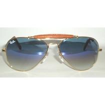 Óculos Caçador 3422q Dourado Lente Azul Degrade Couro Marrom