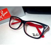 Armação Oculos Grau Rb5228 Wayfarer Preto E Vermelho Ray Ban
