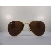 Oculos De Sol Rayban 3025 Aviador Dourado Lente Marrom