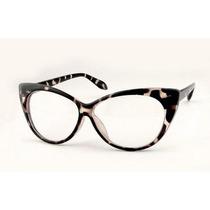 Óculos / Armação Retrô De Gatinho / Cat Eye Leopardo / Onça