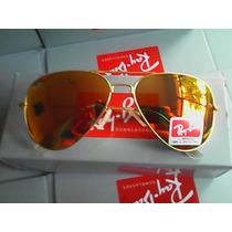 Ray Ban 3024 Dourado Lente Dourada Vermelha Cristal Original