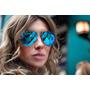 Oculos De Sol 3025 Dourado Lente Azul Claro Espelhado
