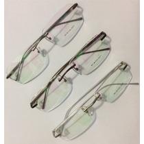 Armação Para Óculos De Grau Sem Aro Em Alumínio + Nf-e