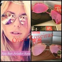 Aviador Rosa Rosê Espelhado Ray Ban Original 3025 3026 Femin