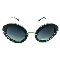 Oculos De Sol Preto Redondo