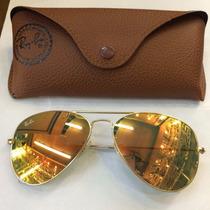 Óculos Rayban Aviador 3026 Dourado Lente Espelhada Original