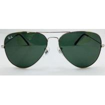 Oculos Ray Ban Aviador Original Lente Verde Armação Prata